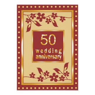 金第50結婚記念日の招待状 12.7 X 17.8 インビテーションカード