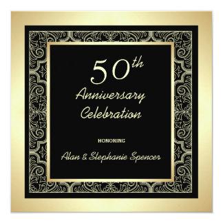 金第50結婚記念日の招待状 13.3 スクエアインビテーションカード