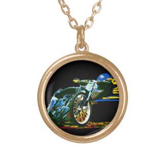 金素晴らしい高速自動車道路のオートバイ ゴールドプレートネックレス