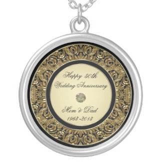 金結婚記念日のネックレス シルバープレートネックレス
