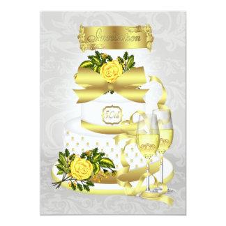 金結婚記念日の招待状の紙 12.7 X 17.8 インビテーションカード