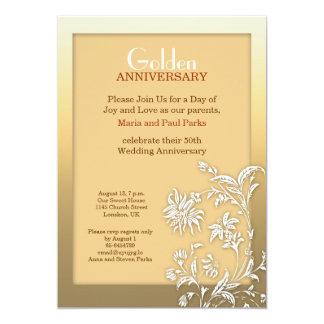 金結婚記念日の招待 カード