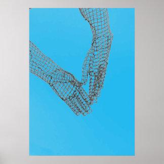 金網手の彫刻のポスターかプリント ポスター