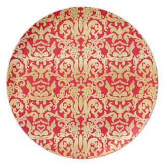 金美しいバロック式のスタイリッシュでエレガントなパターン プレート