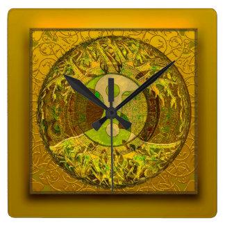 金色の陰陽 スクエア壁時計