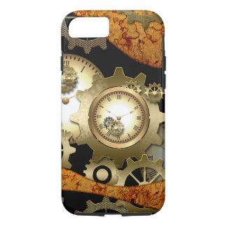 金色のSteampunk、時計およびギア iPhone 8/7ケース