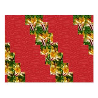 金花の低価格赤く膚触りがよい生地の一見の芸術 ポストカード