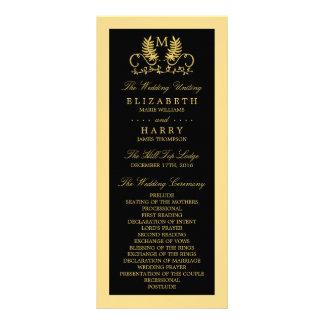 金花の紋章の結婚式プログラム ラックカード