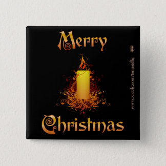 金花の蝋燭-メリークリスマス 5.1CM 正方形バッジ
