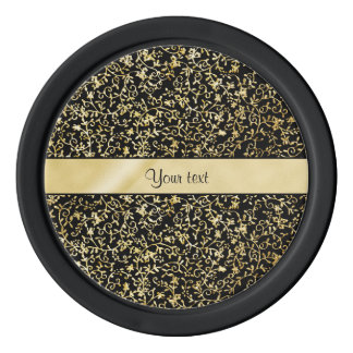 金花柄の華麗さ及び渦巻の黒 ポーカーチップ