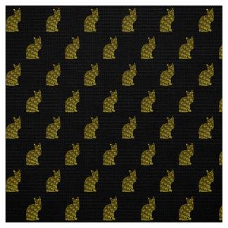 金茶色のぶち猫の生地 ファブリック