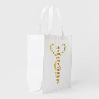 金螺線形の川の女神-再使用可能な買い物袋 エコバッグ