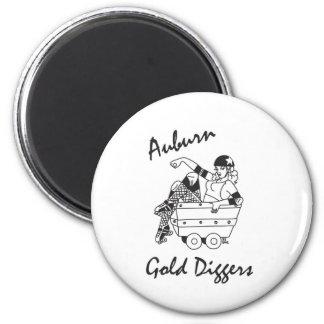 金褐色の金鉱掘りの白黒ロゴ マグネット
