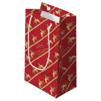 金西部の喜びの馬の赤のクリスマス スモールペーパーバッグ