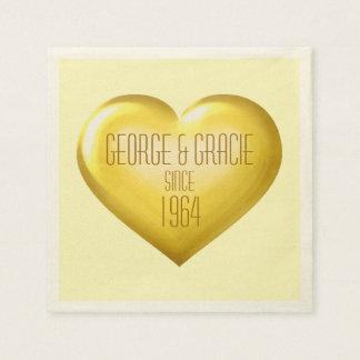 金記念日の金ゴールドガラスのハート スタンダードカクテルナプキン