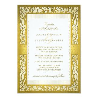 金豪奢なDecoのボーダー結婚式招待状 カード