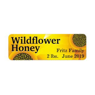 金野生の花の蜂蜜の瓶 ラベル