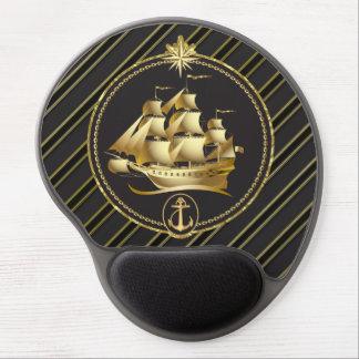 金金属帆船及びいかりの金ゴールドは縞で飾ります ジェルマウスパッド