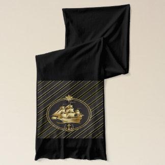 金金属帆船及びいかりの金ゴールドは縞で飾ります スカーフ