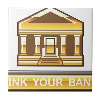 金銀行リンク光沢のあるあなたの銀行ボタン タイル