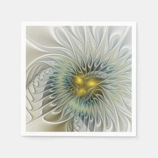 金銀製の花のファンタジーの抽象芸術のフラクタルの芸術 スタンダードカクテルナプキン