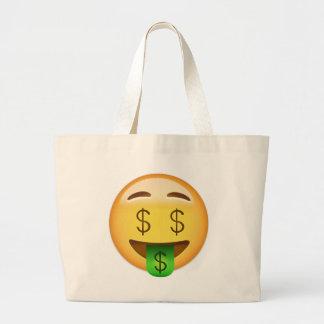 金銭口の顔Emoji ラージトートバッグ