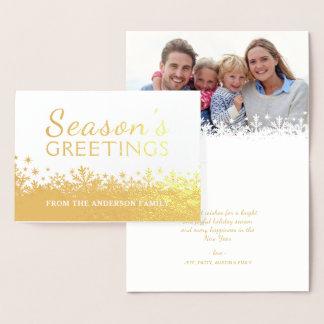 金雪片のクリスマスの休日ホイルの写真 箔カード