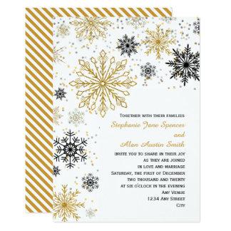 金雪片の冬の結婚式 カード