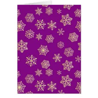 金雪片、紫色の背景 カード