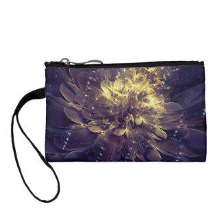 金青い花|のカスタムの鍵の硬貨のクラッチ・バッグ コインパース