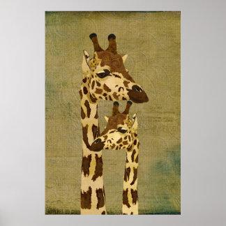 金青銅色のキリンの芸術ポスター ポスター