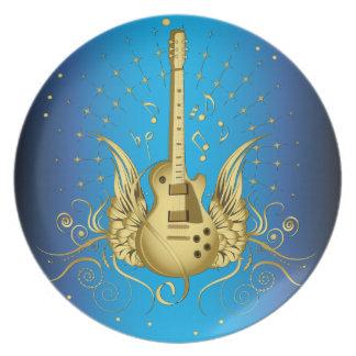 金飛んだギター プレート