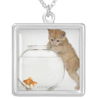 金魚で得ることを試みている子ネコ シルバープレートネックレス