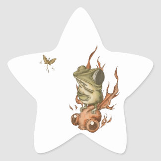 金魚と豆カエルNo.001 星形シールステッカー