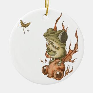 金魚と豆カエルNo.001 陶器製丸型オーナメント