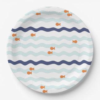 金魚の誕生会のプレート 紙皿 大
