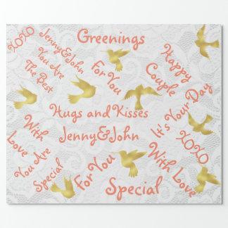 金鳥を結婚するモモの白いレース ラッピングペーパー