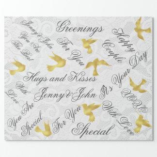 金鳥を結婚するヴィンテージの白いレース ラッピングペーパー