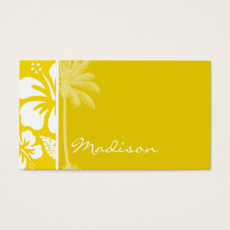 金黄色いハワイの熱帯やし 名刺
