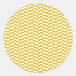 金黄色いヘリンボンパターン ラウンドシール