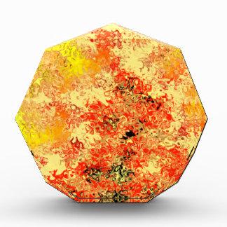 金黄色い及び燃やされたオレンジの抽象芸術 表彰盾