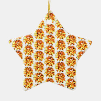 金黄色い花のダリアの花模様 陶器製星型オーナメント