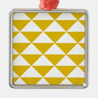 金黄色および白い三角形 メタルオーナメント