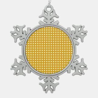 金黄色く幾何学的なパターン-かわいいダイヤモンド スノーフレークピューターオーナメント