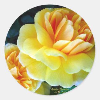 金黄色バラ ラウンドシール