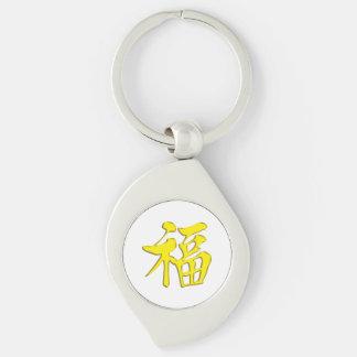 金黄黃福中文tの恤のイエロー・ゴールドの金天恵の優美よいFo シルバーカラー渦巻き型キーホルダー