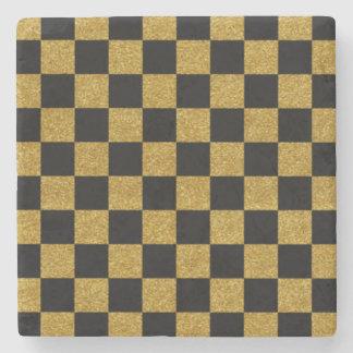 金黒いチェッカー板 ストーンコースター