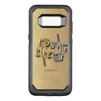 金2および影を持つ銀製のバラ オッターボックスコミューターSamsung GALAXY S8 ケース