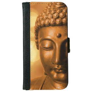 金《写真》ぼけ味の背景が付いている仏の青銅色の彫像 iPhone 6/6S ウォレットケース