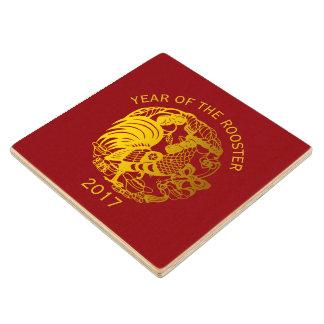 金(占星術の)十二宮図の2017年のオンドリ年の木のコースター ウッドコースター